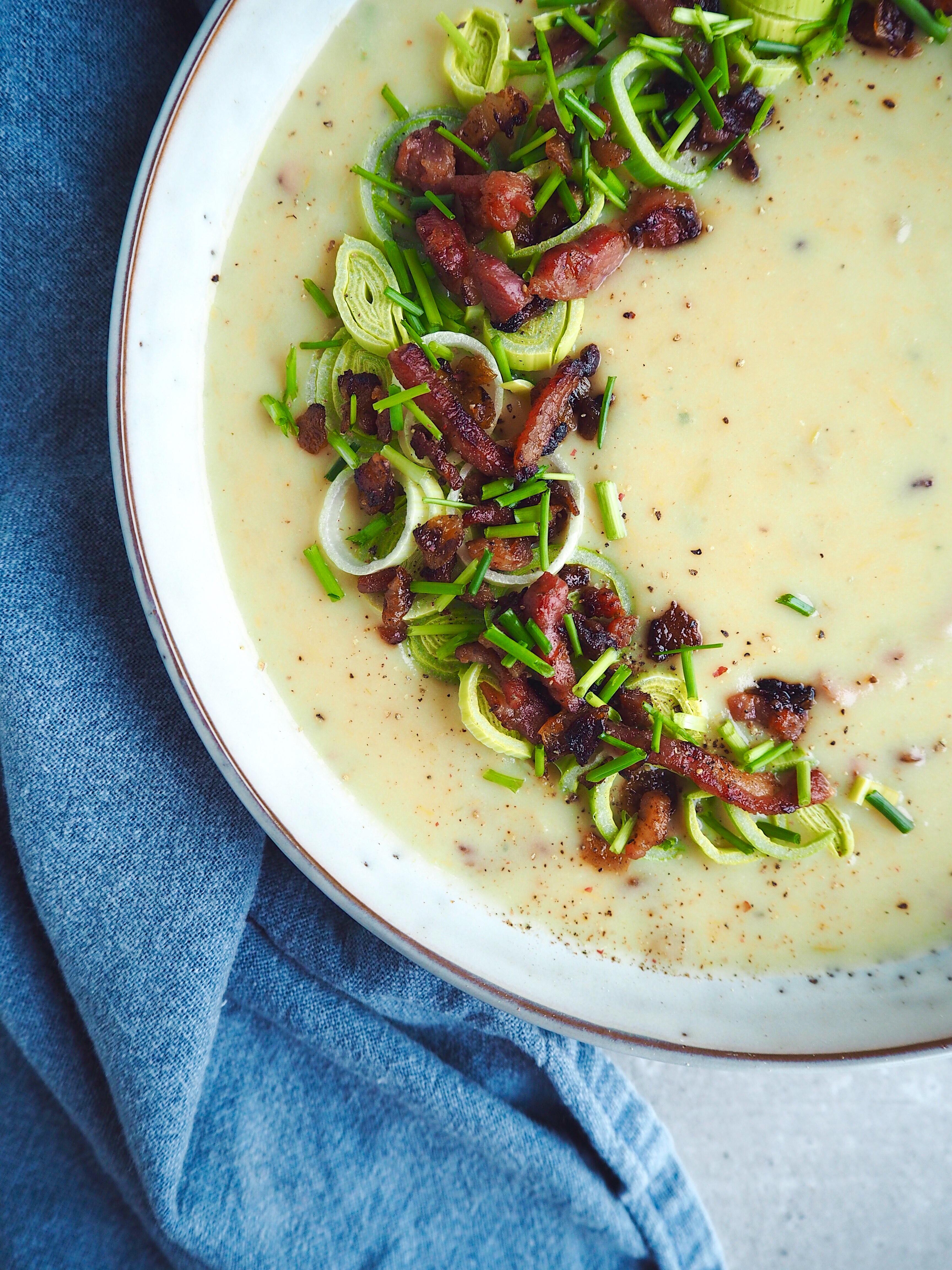 Cremet Kartoffel PorreSuppe Kartoffelsuppe Suppe Bacon Aftensmad Mad Madblogger Madblog Madinspiration Mia Lindholm Blog Blogger